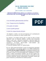 PRONUNCIAMIENTO DEL COLEGIO DE PROFESORES REGIÓN ANCASH