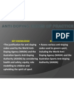 anti-doping codes and practices