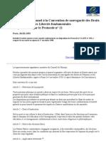 Convention de sauvegarde des Droits de l'Homme et des Libertés fondamentales - protocole n°11