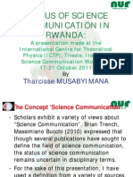 Status of Science Communication in Rwanda by Tharcisse MUSABYIMANA