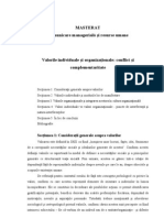 Valorile Individuale Si Organizationale - Conflict Si Complementaritate