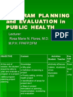 Planning and Evaluation in Public Health