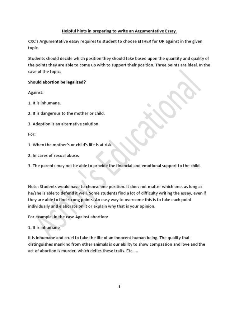 Personal Essay Thesis Statement Argumentative Essay On Abortion Political Essay Topics also Short Essays Argumentative Essay On Abortion Cxc Csec English Argumentative Essay  Public Opinion Essay