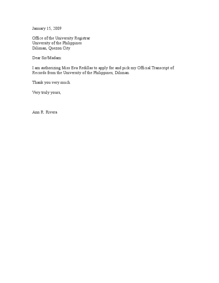 Authorization Letter TOR – Letter of Authorization Letter