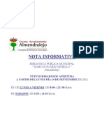 Nota Informativa Modificacion Horario Apertura Biblioeca Municipal
