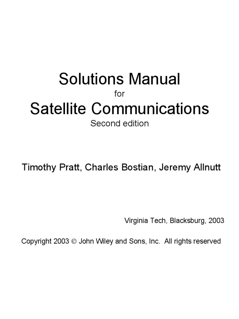 solutions manual for satellite communications second edition timothy rh scribd com satellite communications dennis roddy 4th edition solution manual Dennis Roddy Chattanooga