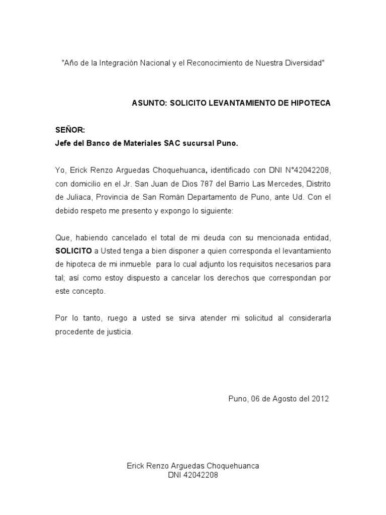 Carta modelo de solicitud de minuta de levantamiento de Bod solicitud de chequera