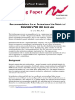 """""""Recommendations for an Evaluation of the District of Columbia's Paid Sick Days Law"""" by Kevin Miller, Ph.D. s"""