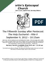 St. Martin's Episcopal Church Worship Bulletin - Sept. 9 - 10:15 a.m.