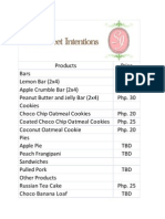 Sweet Intentions Product and Price List