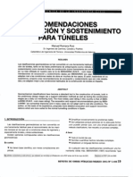 Recomendaciones de excavaciones y sostenimiento para túneles