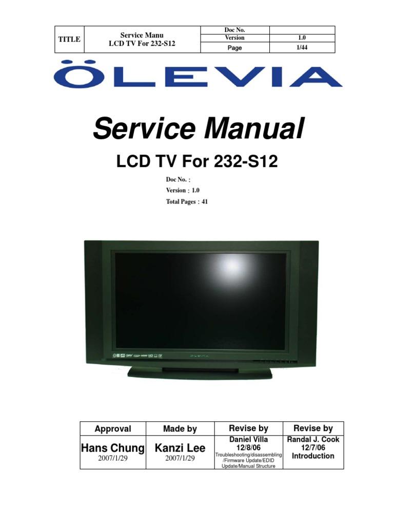 Olevia 232-s12 Sm Rev1 [ET] | Usb Flash Drive | Microsoft