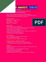 Lista oficial de categorías (y nominados) GONZALO AWARD's 2012