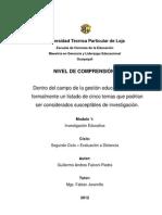 Cinco temas de Investigación en Gestión Educativa.