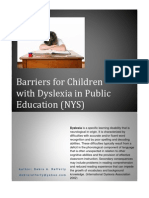 Barriers for Students With Dyslexia in Public Education (New York State)