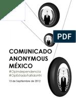 Comunicado Anonymous México #OpIndependencia y #OpEstadoFallidoHN