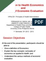 Introduction to Health Economics & Econ Evaluation - HPAd 201