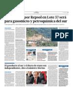 Gas hallado por Repsol en Lote 57 será para gasoducto y  petroquímica del sur