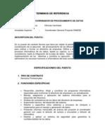 Terminos de Referencia Coordinador de Proc. de Datos