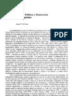 Sistema Institucionalizados de Partidos. Partidos políticos y democracia en la Argentina