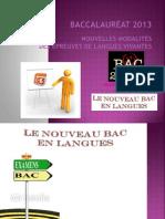 Bac 2013 Langues Nouvelles Modalites