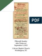 Bulletin, September 9, 2012