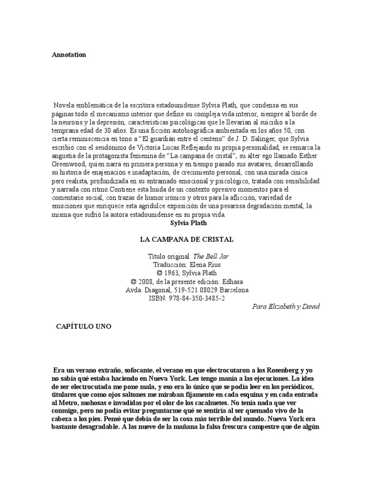 la campana de cristal sylvia plath pdf