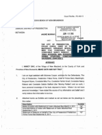 June 18, 2012, Affidavit of Nancy Day filed by The City of Fredericton to be used for a Motion for security of Costs scheduled September 10, 2012. Court file FC-45-11: