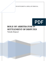 ROLE OF ARBITRATOR IN SETTLEMENT OF DISPUTES