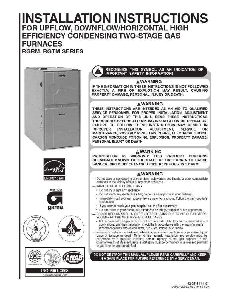 Rheem Furnace Installation Manual(1) | Furnace | Duct (Flow)