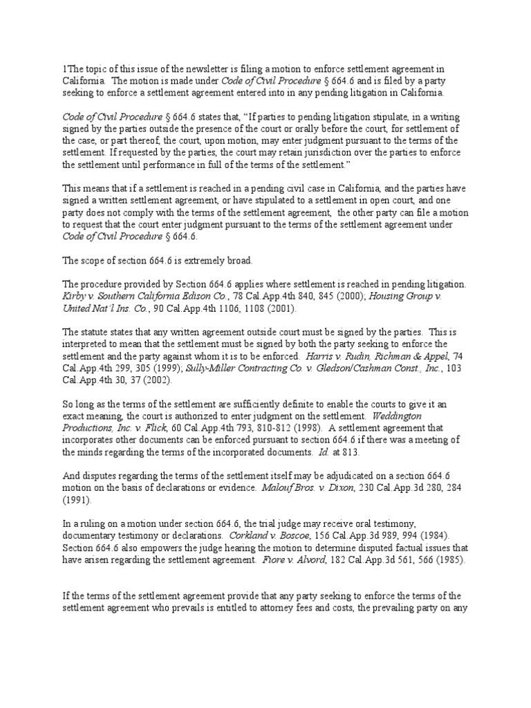 Motion To Enforce Settlement Agreement In California Settlement