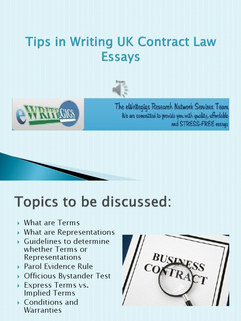 Tips In Writing Uk Contract Law Essay  Contractual Term  Business Law  Essay Writing Paper also Pollution Essay In English  Write My Eassy