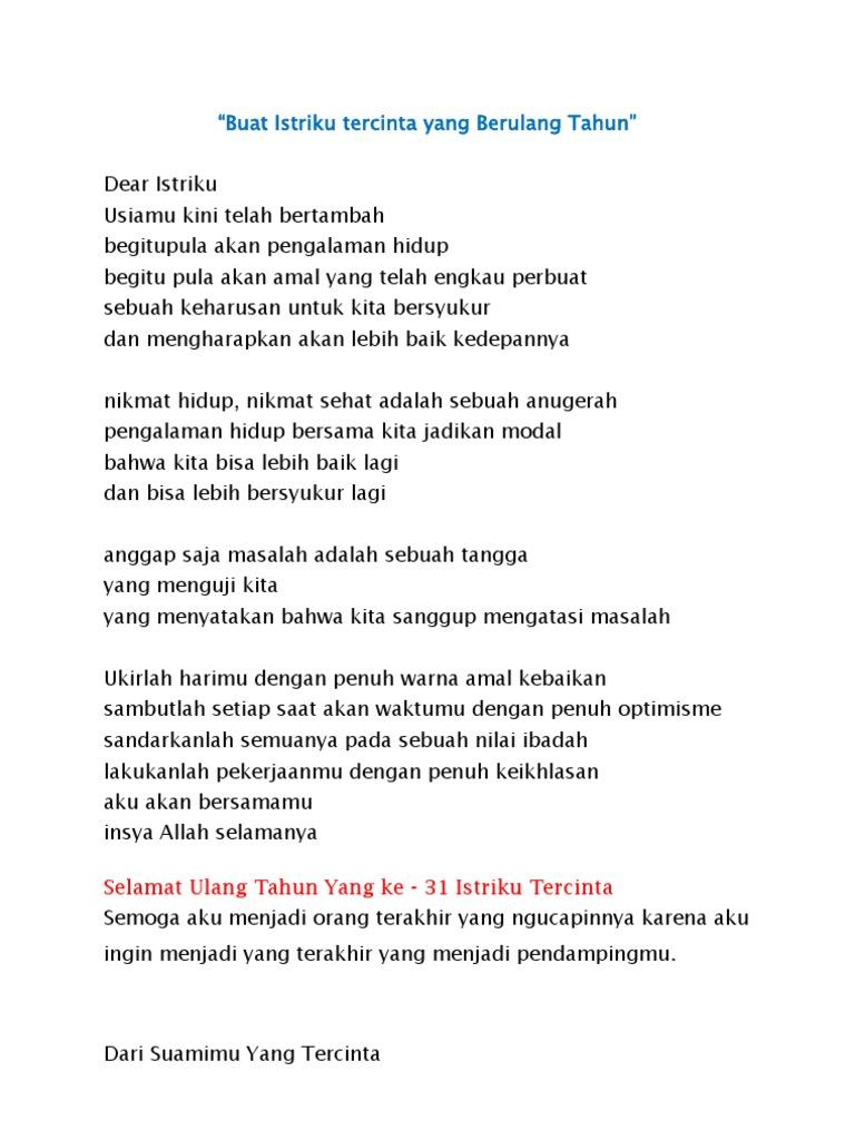 Puisi Untuk Istri Yang Ulang Tahun