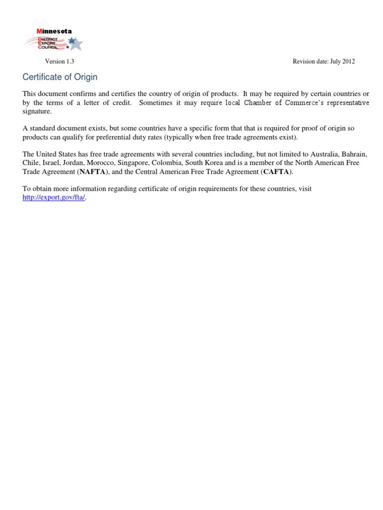 Certificate Of Origin Sample Containerization International Business