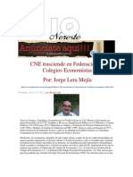 LERA. CNE trasciende en Federación de Colegios Economistas. 19.6.12