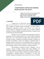 Parecer Na CCJC PL 1023-2011 Dep. Onofre