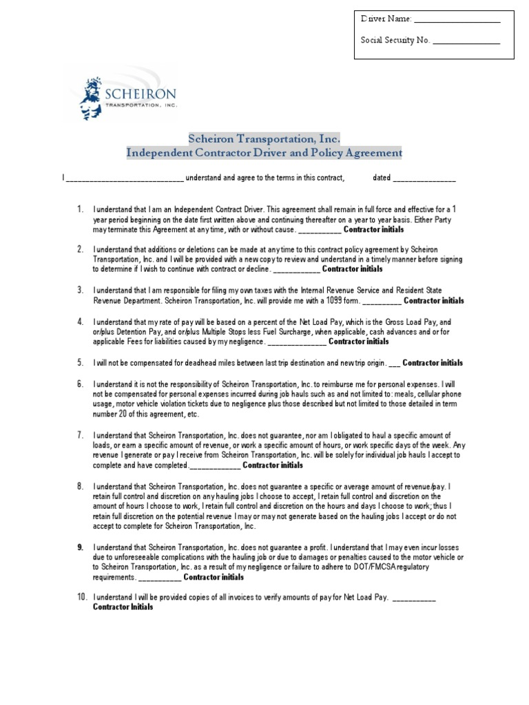 Independent Contractor Driver Agreement PDF – Contract Agreement
