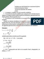 ecuaciones simultáneas de primero y segundo grado