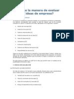 Evaluar La Idea de Empresa