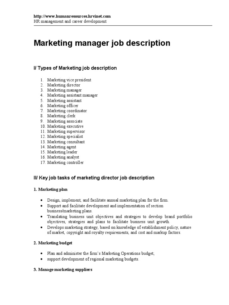 Marketing Manager Job Description | Marketing | Strategic Management