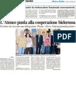 L'Ateneo punta alla cooperazione bielorussa / Aperte le iscrizioni al Master in rieducazione funzionale psicomotoria - Il Resto del Carlino del 6 settembre 2012
