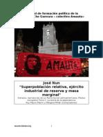 """""""Superpoblación relativa, ejercito industrial de reserva y masa marginal""""  JOSÉ NUN"""
