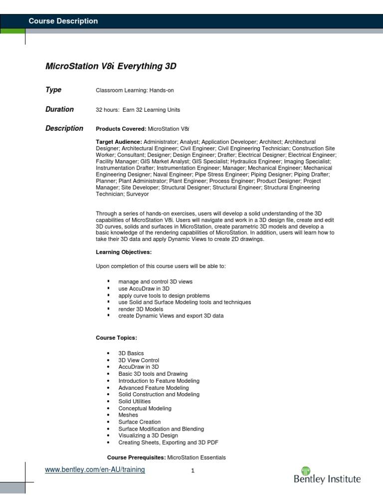 Course MicroStation V8i Everything 3D