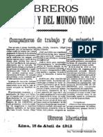 anarquismo Peru Mayo de 1912