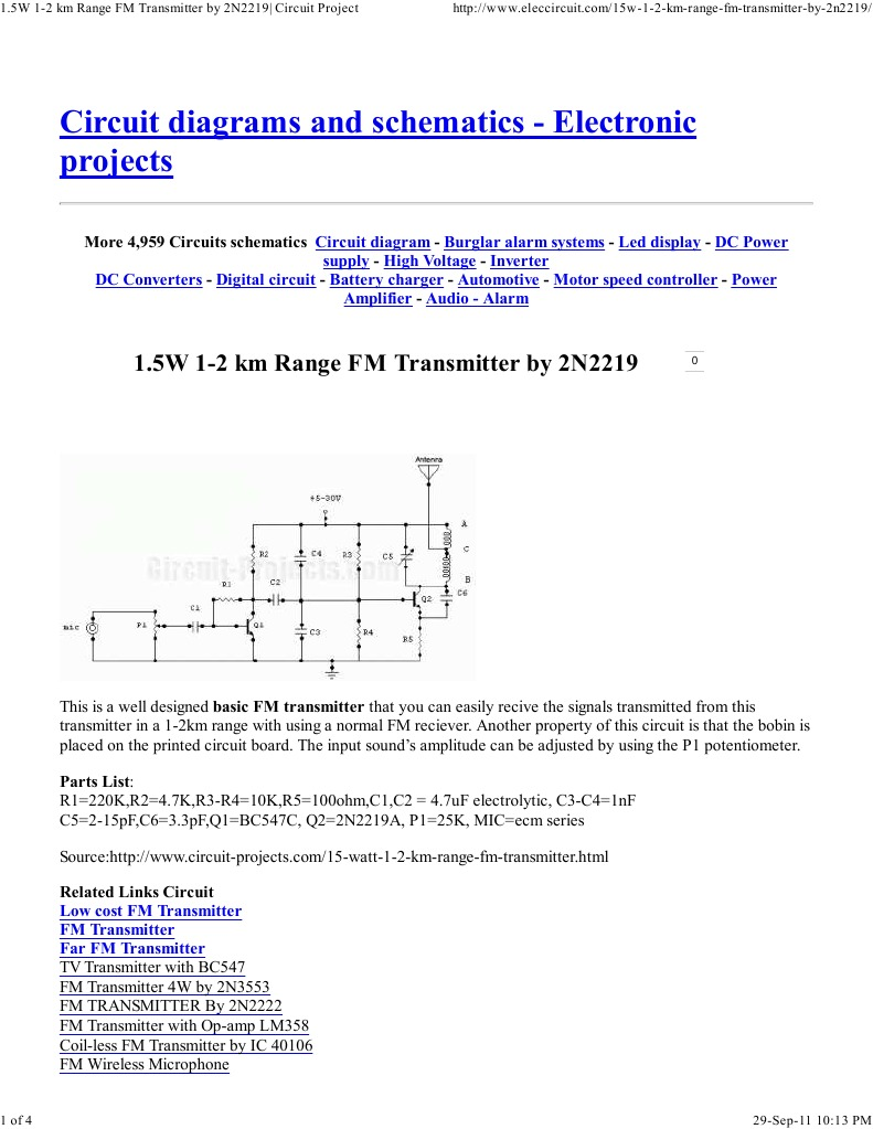 15w 1 2 Km Range Fm Transmitter By 2n2219 Circuit Project Motor Speed Controller Diagram Electronic Circuits