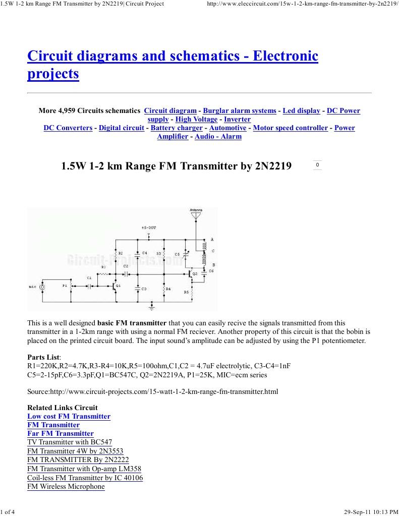 15w 1 2 Km Range Fm Transmitter By 2n2219 Circuit Project Electronic Diagram Circuits