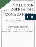 Marin Sola, Francisco - La Evolucion Homogenea Del Dogma Catolico