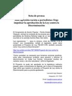 """Nota de Prensa - Agresión a periodistas de América noticias """"Cholo de Mierda"""""""