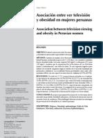 Relacion entre obesidad y ver tv en mujeres. Peru 2012