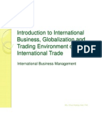 1. Introduction to International Business, Globalization and Trading Environment of International Trade